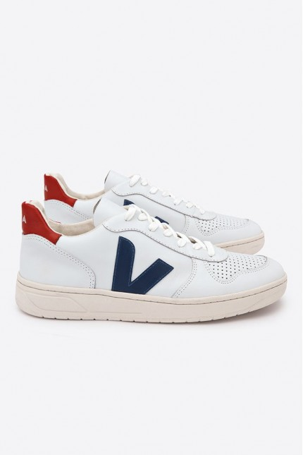 V10 Leather Shoes Extra White Nautico Pekin Veja