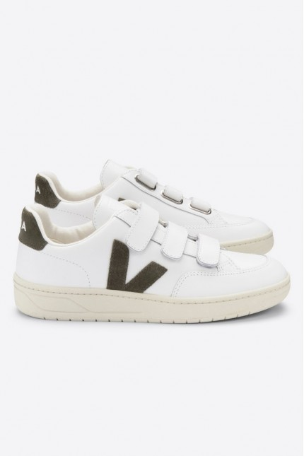 V-Lock Leather Extra White Kaki Veja