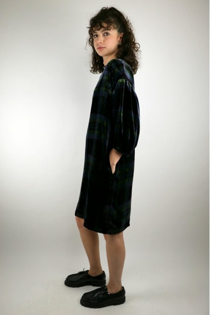 Robe Darlene Black / Green Tartan YMC